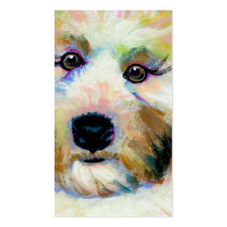 Cute dog adorable face fun colorful art painting Double-Sided standard business cards (Pack of 100)