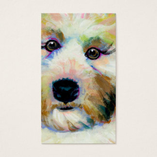 Cute dog adorable face fun colorful art painting business card