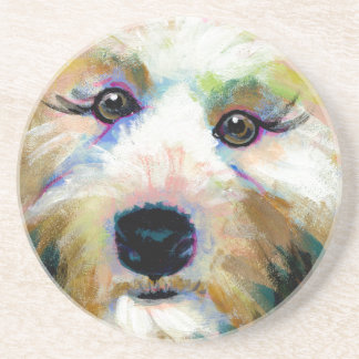 Cute dog adorable face fun colorful art painting coaster