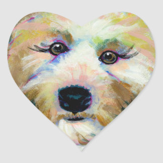 Cute dog adorable face fun colorful art painting heart sticker