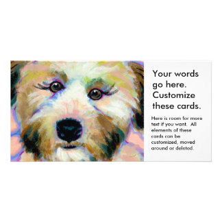 Cute dog adorable face fun colorful art painting photo card