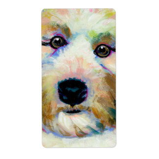 Cute dog adorable face fun colorful art painting shipping label