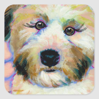 Cute dog adorable face fun colorful art painting square sticker