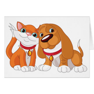 Cute Dog And Cat Note Cards
