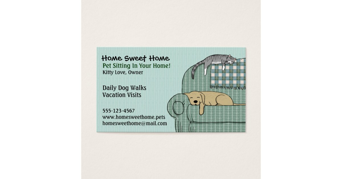 Cute Dog and Cat Pet Sitting - Animal Services Business Card ...