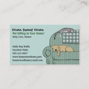 Pet business cards zazzle cute dog and cat pet sitting animal services business card colourmoves