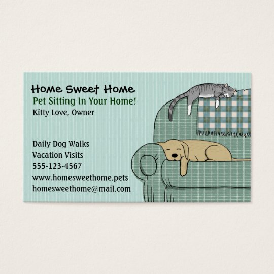 Cute Dog And Cat Pet Sitting Animal Services Business Card