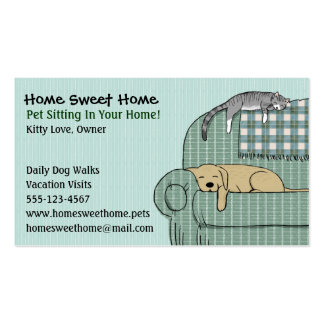 Cute Dog and Cat Pet Sitting - Animal Services Double-Sided Standard Business Cards (Pack Of 100)