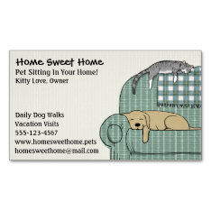 Cute Dog And Cat Pet Sitting - Animal Services Magnetic Business Card at Zazzle