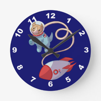 Cute Dog Astronaut Wall Clock