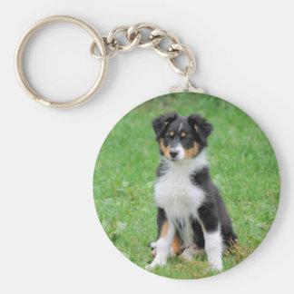 cute dog basic round button keychain
