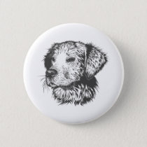 Cute Dog Black and White Button