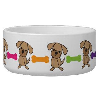 Cute Dog Bone and Stick Figure Doggy Pet Dish Dog Water Bowls