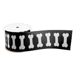 Cute Dog Bones for Dog Lovers BLACK V07 Satin Ribbon