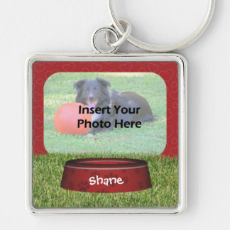 Cute Dog Bowl Design Pet Photo Silver-Colored Square Keychain