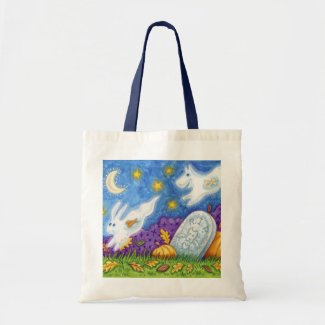 cute dog bunny ghosts chase in the graveyard canvas bag