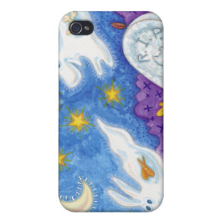 cute dog bunny ghosts chase in the graveyard iPhone 4/4S case