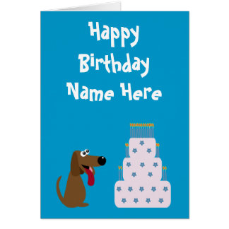 Cute Dog & Cake Birthday Animal Charity Blue Stationery Note Card