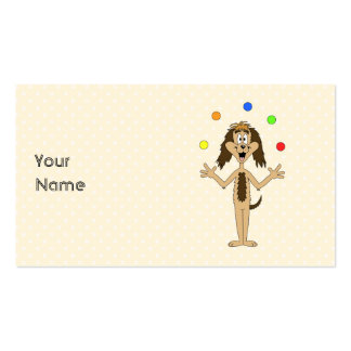 Cute Dog Cartoon. Juggler. Double-Sided Standard Business Cards (Pack Of 100)
