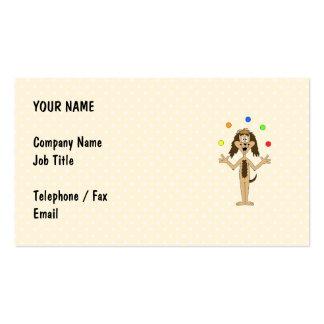 Cute Dog Cartoon. Juggler. Business Card