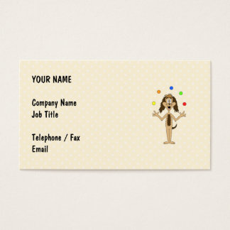 Cute Dog Cartoon. Juggler. Business Card