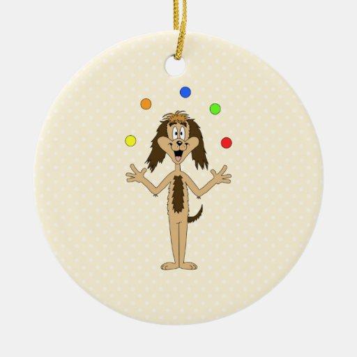 Cute Dog Cartoon. Juggler. Christmas Ornament