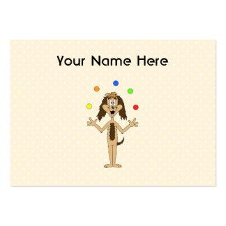 Cute Dog Cartoon. Juggler. Large Business Card