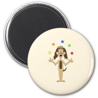 Cute Dog Cartoon. Juggler. 2 Inch Round Magnet