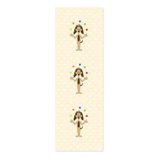 Cute Dog Cartoon. Juggler. Mini Business Card