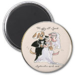 Cute Dog Cartoons Wedding Save the Date Magnets