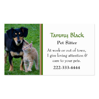Cute Dog & Cat Photo Pet Care Double-Sided Standard Business Cards (Pack Of 100)