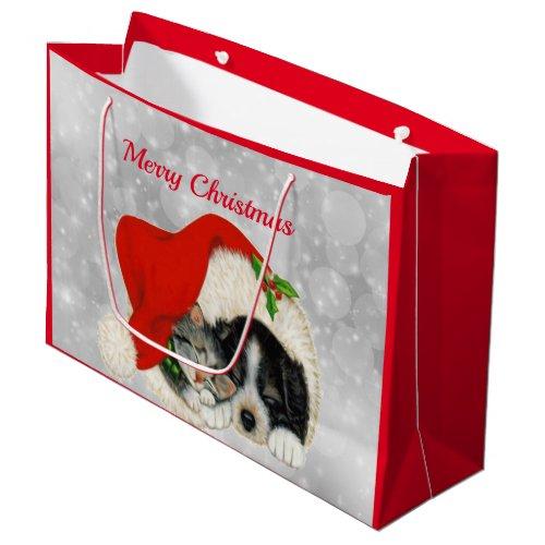 Cute Dog Cat Santa Cap Christmas Large Gift Bag