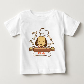 Cute dog chef rolling out cookie dough. baby T-Shirt