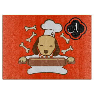 Cute dog chef rolling out cookie dough. cutting board