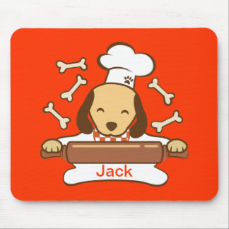 Cute dog chef rolling out cookie dough. mouse pad