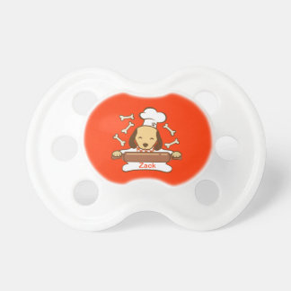 Cute dog chef rolling out cookie dough. pacifier