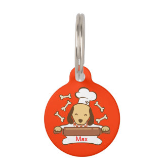 Cute dog chef rolling out cookie dough. pet ID tag