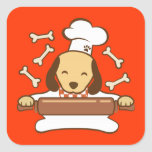 Cute dog chef rolling out cookie dough. square sticker