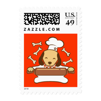 Cute dog chef rolling out cookie dough. stamps