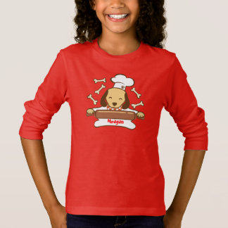Cute dog chef rolling out cookie dough. T-Shirt
