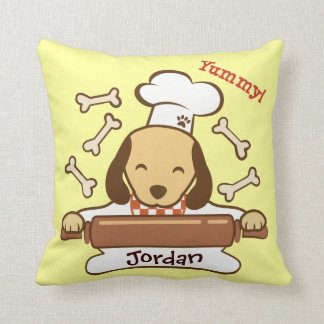 Cute dog chef rolling out cookie dough. throw pillow