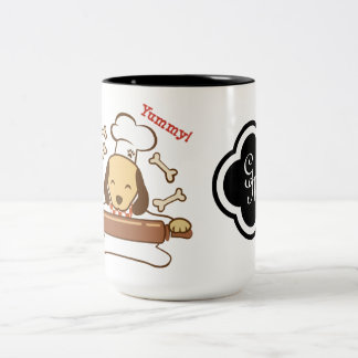 Cute dog chef rolling out cookie dough. Two-Tone coffee mug