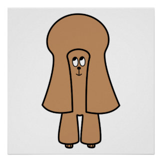 Cute Dog. Chocolate Brown Miniature / Toy Poodle. Poster
