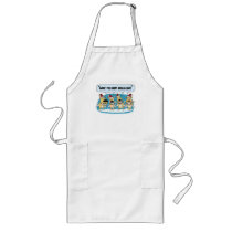 Cute dog Christmas apron: Hairy Angels Long Apron