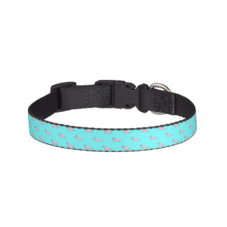 Cute Dog Collar- Turquoise & Pink Flamingo Pet Collar