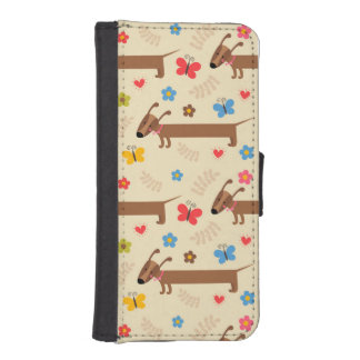 Cute Dog Dachsund Pattern for iPhone Wallet iPhone 5 Wallet Case