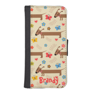 Cute Dog Dachsund Pattern for iPhone Wallet Phone Wallet