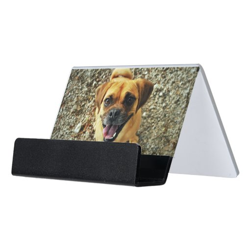 Cute dog desk business card holder zazzle for Cute business card holders for desk