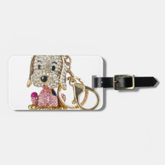 Cute Dog Diamond And Gold Key Ring Tag For Luggage