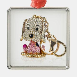 Cute Dog Diamond And Gold Key Ring Metal Ornament